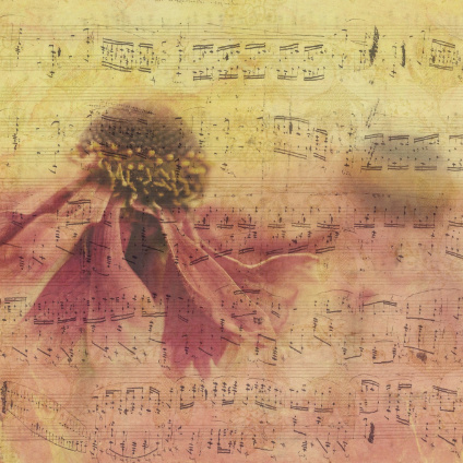 Artistic image of flower overlayed on sheet music